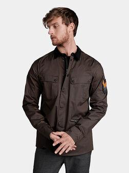 Риза в милитари стил с кадифена яка - 1