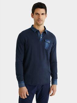 Cotton and denim polo shirt - 1