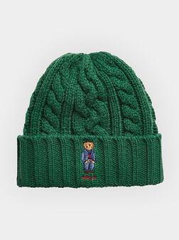 Зелена плетена шапка с Polo Bear лого - 1