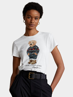 Бяла памучна тениска с Polo Bear лого принт - 1