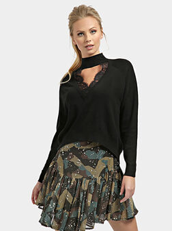 Пуловер FATIMA с дантелени детайли - 1