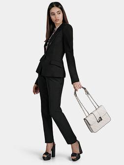 Черен панталон ZOE с акцентна талия - 1