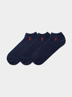 Сет от три чифта сини чорапи с лого - 1