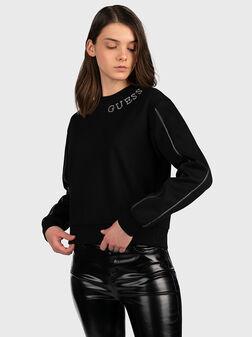 Sweatshirt with rhinestone logo - 1
