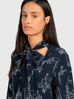 Блуза с дълги ръкави и принт - 1