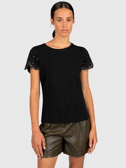 Black t-shirt with rhinestones - 1