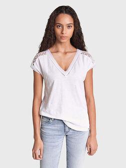 Памучна блуза с акцент на раменете - 1