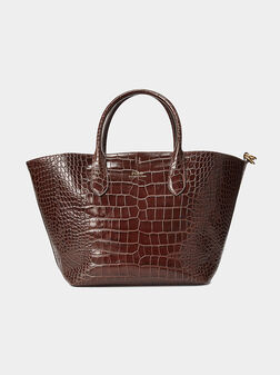 Кожена шопър чанта в кафяв цвят - 1