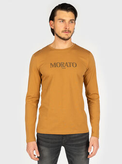 Памучна блуза с лого принт - 1