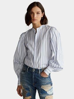 Памучна раирана риза с буфан ръкави - 1