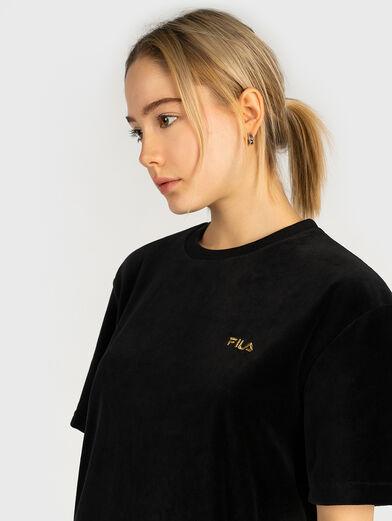 Velvet tee dress with logo embroidery - 2