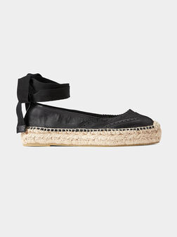 Black leather espadrilles with ankle ties - 1