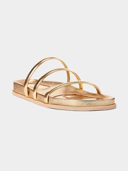 Gold tone slide sandals - 1