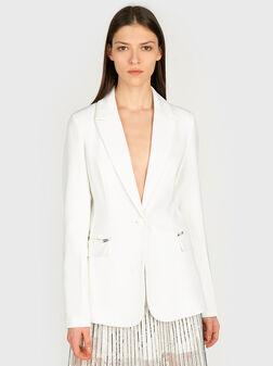 Блейзър в бял цвят с ципове на джобовете - 1