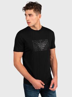 Черна тениска с апликация орел - 1