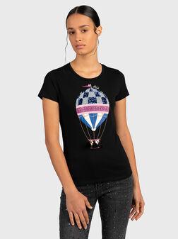 Тениска със сребриста апликация - 1
