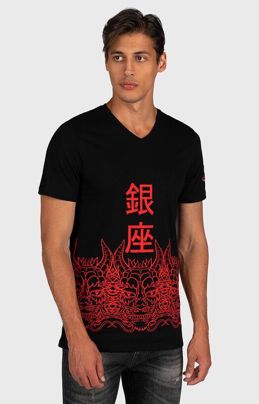Тениска в черен цвят с принт - 1
