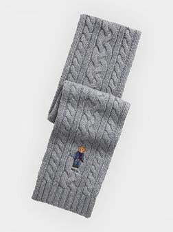 Сив шал с бродерия - 1