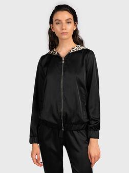Sweatshirt with leopard-lined hood - 1