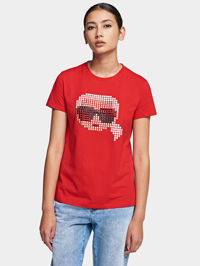 Cotton T-shirt with pixelated logo - 1