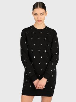 Памучна рокля в черен цвят - 1
