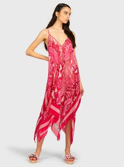 Плажна рокля в розов цвят - 1