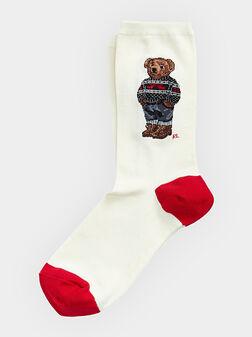 Бели чорапи с Polo Bear принт - 1