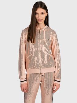 Sweatshirt with appliqued rhinestones - 1