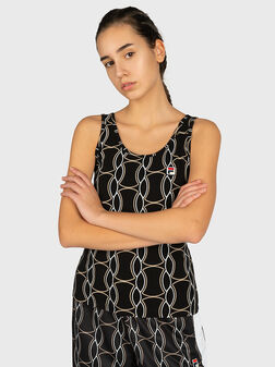 ANNA Top with contrasting print  - 1