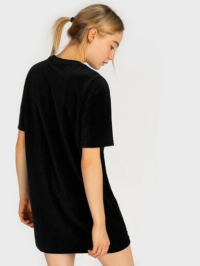 Velvet tee dress with logo embroidery - 3