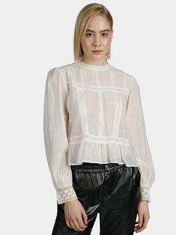 Памучна бяла блуза с бродерия BLANCHE - 1