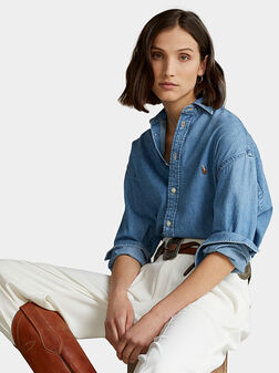 Cotton denim shirt with Pony logo - 1