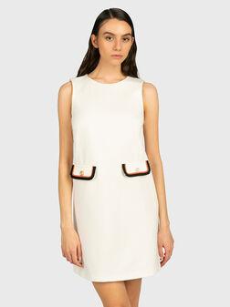 Бяла рокля с контрастни детайли - 1