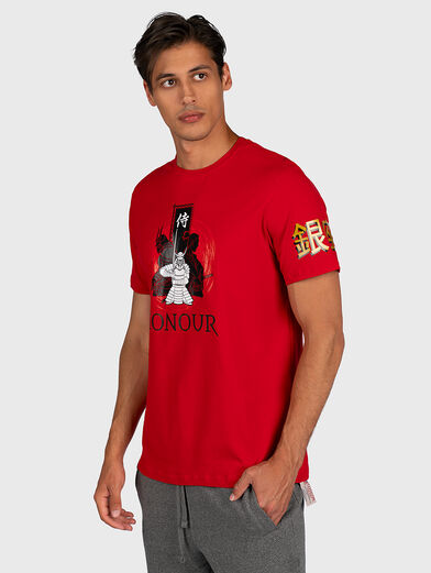 Red T-shirt with contrasting prints - 1