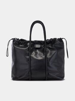 Leather shopper in black - 1