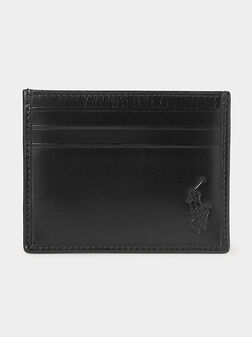 Leather card holder with logo print - 1