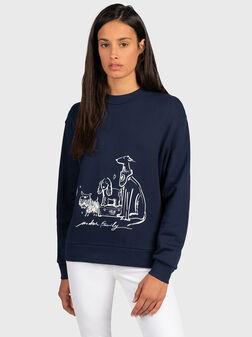 Blue sweatshirt with print - 1