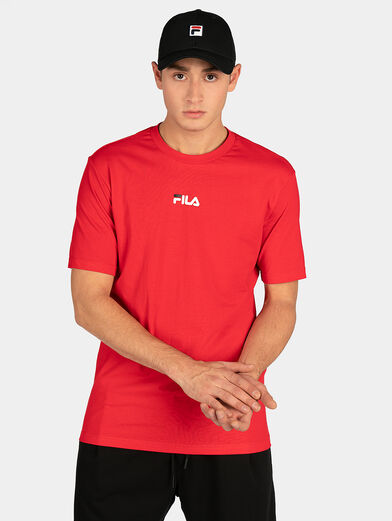 Red T-shirt with maxi logo print - 1