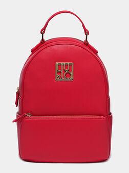 Червена раница с лого детайл - 1