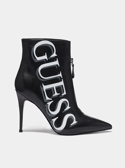 ORBIT Black leather ankle boots with maxi logo - 1