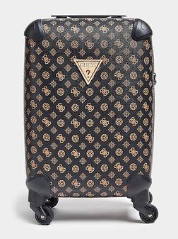 Кафяв куфар WILDER с контрастен принт - 1