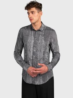 Риза в сив цвят с арт детайли - 1