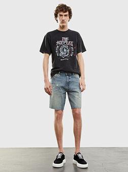 Denim shorts with worn look - 1