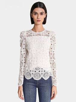 Блуза с дантела в бял цвят - 1