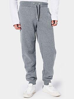 Сив спортен панталон с лого бродерия - 1
