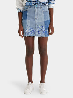 Short denim skirt with embroidery - 1