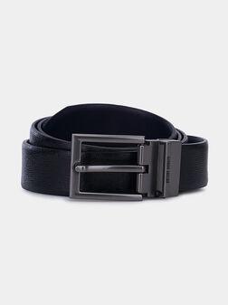 Кожен текстуриран колан в черен цвят - 1