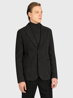 Textured blazer in grey color - 1