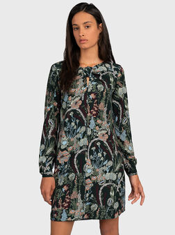 Dress with floral print and long sleeves - 1
