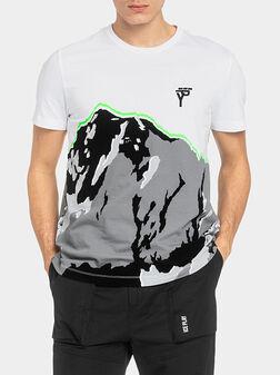 Бяла памучна тениска с принт - 1